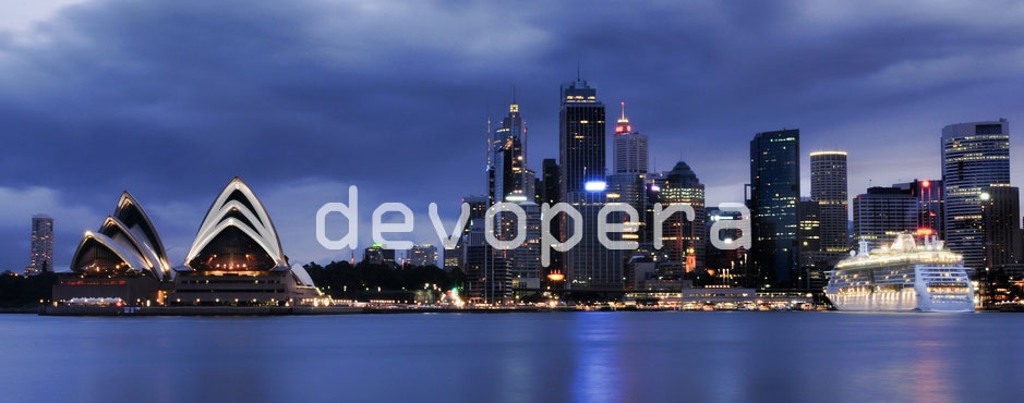 Devopera logo overlayed on Sydney cityscape